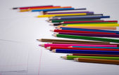 Color pencils are randomly scattered — Stock Photo