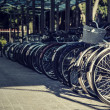 Stock Photo: Many bicycles stand one-behind-one