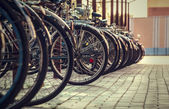Many bicycles stand one-behind-one — Stock Photo