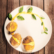 Stock Photo: Potatoes are served on dish with basil sauce and fennel