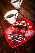 Christmas chocolate cake dessert with pomegranate and coffee — Photo