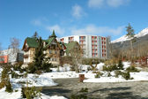 Old and modern hotels in High Tatras. — Stock Photo