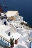 Villa and sea on Santorini island. — ストック写真