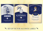 Collection of labels for alcohol — Stock Vector