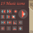 Royalty-Free Stock Imagen vectorial: 15 music icons