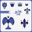 Heraldic silhouettes set of many vintage elements vector background — Stock Vector