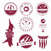 Set of meat shop labels and design elements — Stock Vector