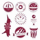 Conjunto de etiquetas de loja de carne e elementos de design — Vetor de Stock