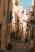 Streets of the small old town Calpe in Spain. — Stock Photo