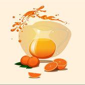 Decanter of orange juice background. Splash. — Stock Vector