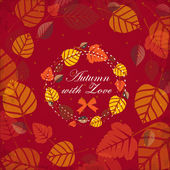 Autumn background with leaves frame — Stock Vector