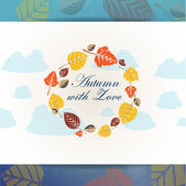 Autumn background with leaves frame — Wektor stockowy