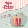Retro vintage happy birthday card with gifts  — Stock Vector