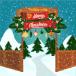 Christmas greeting card. Vector illustration.  Merry Christmas illustration.  — Stock Vector