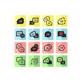 Valentines icons set of bubbles for speech — Stock Vector