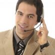 Businessman on the phone with headset — Stock Photo