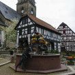 Alte Wache and fountain, City of Wolfhagen, Germany - Stock Photo