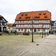 Market Place with fountain, City of Wolfhagen, Germany - Stock Photo