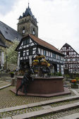 Alte Wache and fountain, City of Wolfhagen, Germany — Stock Photo