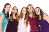 Fem söta flickor — Stockfoto