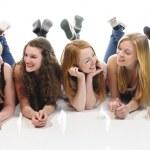 Girlfriends chatting — Stock Photo