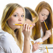 Four Girls an exam — Stock Photo