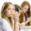 Stock Photo: Four Girls an exam