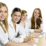 Female Pupils Studying At Desk — Stock Photo