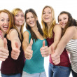 Girlfriends doing Thumbs Up — Stock Photo