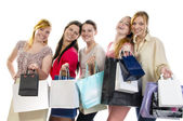 Girlfriends go shopping — Stok fotoğraf