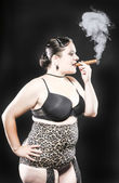 XXL Model Smoking Cigar — Stock Photo
