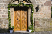 Church entrance decorated — Stock Photo