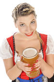Portrait of a blonde young woman smiling with beer glass  — Stock Photo