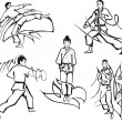 Martial art lessons — Stock Vector