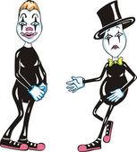 Twee grappige mimespelers — Stockvector