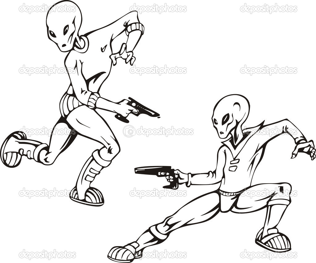 Two humanoids with blasters. Set of black and white vector illustrations. — Stock Vector #12017890