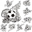 Soccer balls with embellishments — Stock Vector