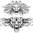 Symmetric animal tattoos — Stock Vector