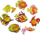 Motley tropical fish — Stock Vector