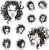Medusa faces — Stock Vector