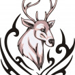 Reindeer tattoo — Stock Vector
