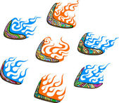 Native Australian Boomerangs with Flames — Vector de stock