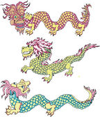 Funny chinese dragons — Stock Vector