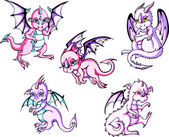 Pink baby dragons — Stock Vector