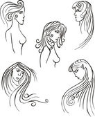 Stylized woman heads — Stock Vector