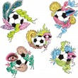 Royalty-Free Stock Vector Image: Stylized soccer balls with ribbons