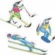 Vector de stock : Ski jumping, Freestyle skiing and Snowboarding
