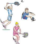Tennis and Badminton — Stock Vector