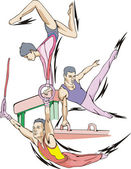 Artistic gymnastics — Stock Vector