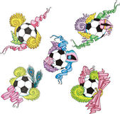 Stylized soccer balls with ribbons — Cтоковый вектор